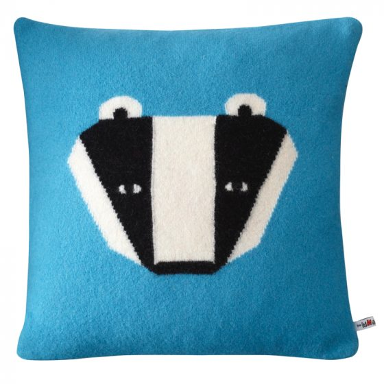 DONNA_WILSON_Badger Cushion Blue 40x40 copy