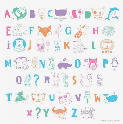 Set Letras y Animales Pastel LightBox