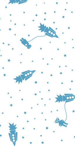 Boys wall art astrobots for baby bedroom Aimee Wilder wallpaper