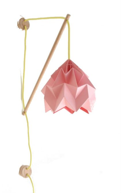 Wall Fixture Klimoppe pink and  cord yellow