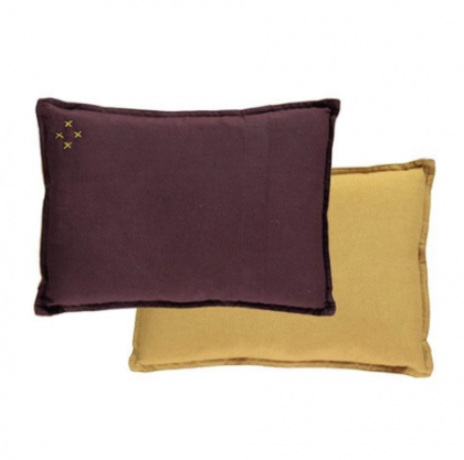 Camomile Padded Two tone cushion wine/golden