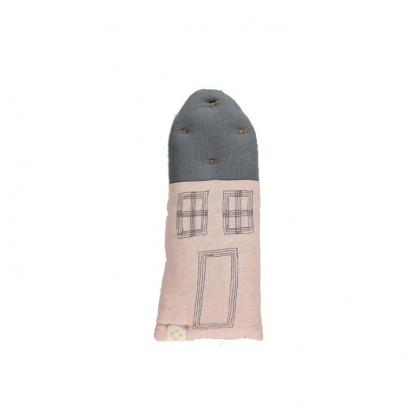Petit House Cushion pink-blue grey