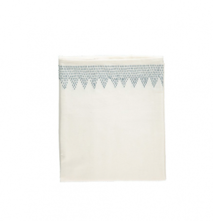 Zig Zag Hand Embroidered Top sheet Ivory – Teal