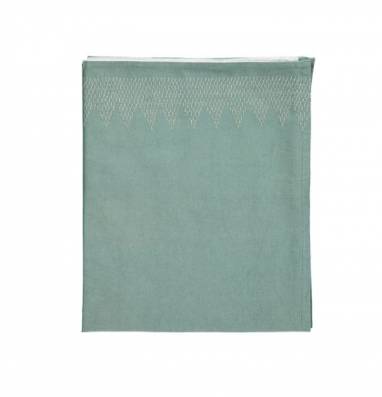 ZigZag Hand Embroidered top sheet teal-ivory