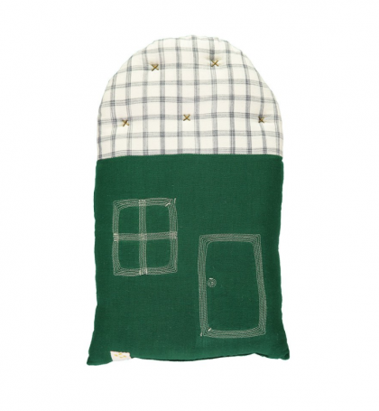 SMALL PADDED HOUSE CUSHION GREEN CAMOMILE LONDON