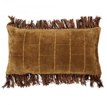 Cushion shabby velvet ocher (35×70)