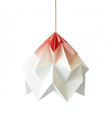Moth XL paper origami lamp Coral