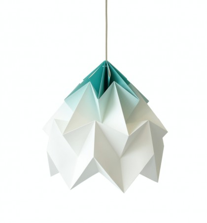 Moth XL paper origami lamp Mint