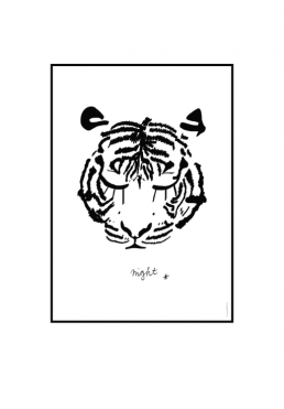 Wall art decoration for kids poster and prints  Tiger black and white Amayadeeme