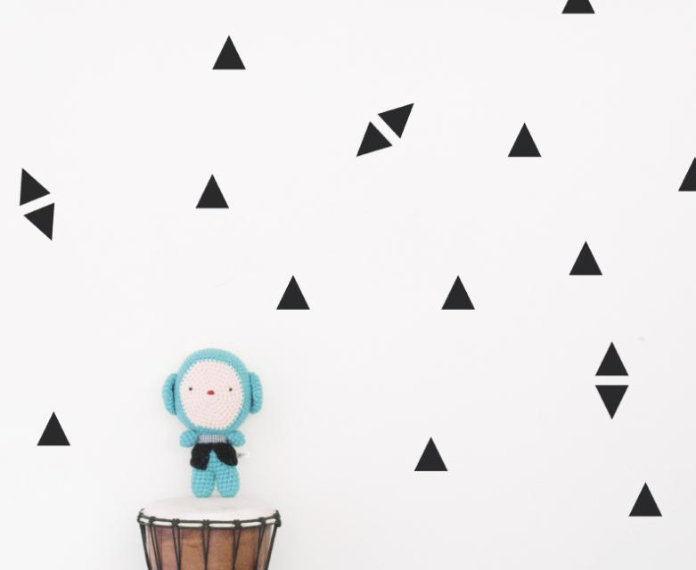 Kids wall art black triangle shape Moonwalk Teddybear