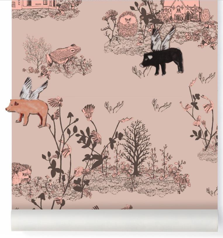 Magnetic Woodlands Wallpaper brown-pink Sian Zeng