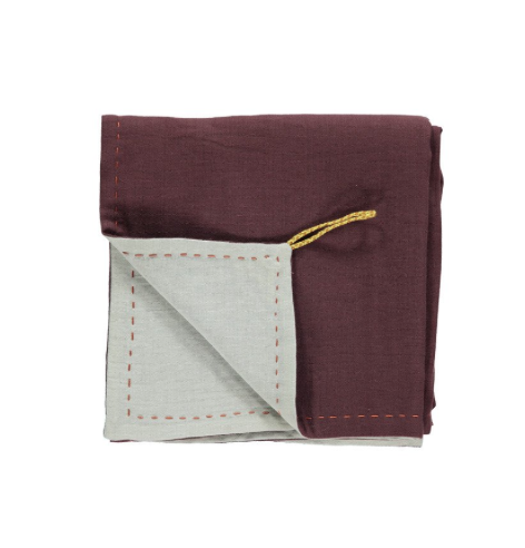 Double Layer Reversible Swaddle Blanket wine