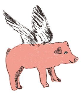 Flying Pig Fabric Wall Stickers Sian Zeng