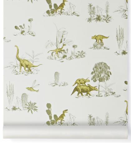 Papel Pintado Dinosaurios Verde-Amarillo