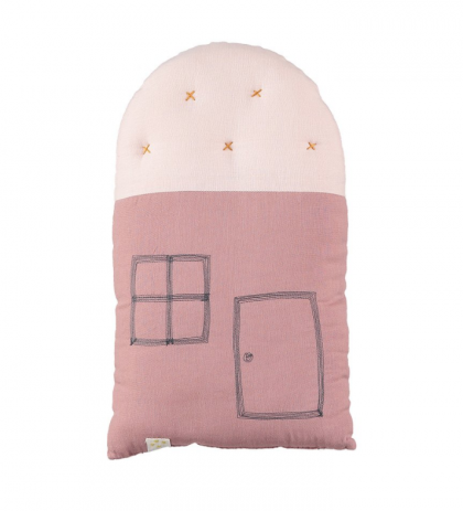 Small Padded House Cushion Pink Camomile London