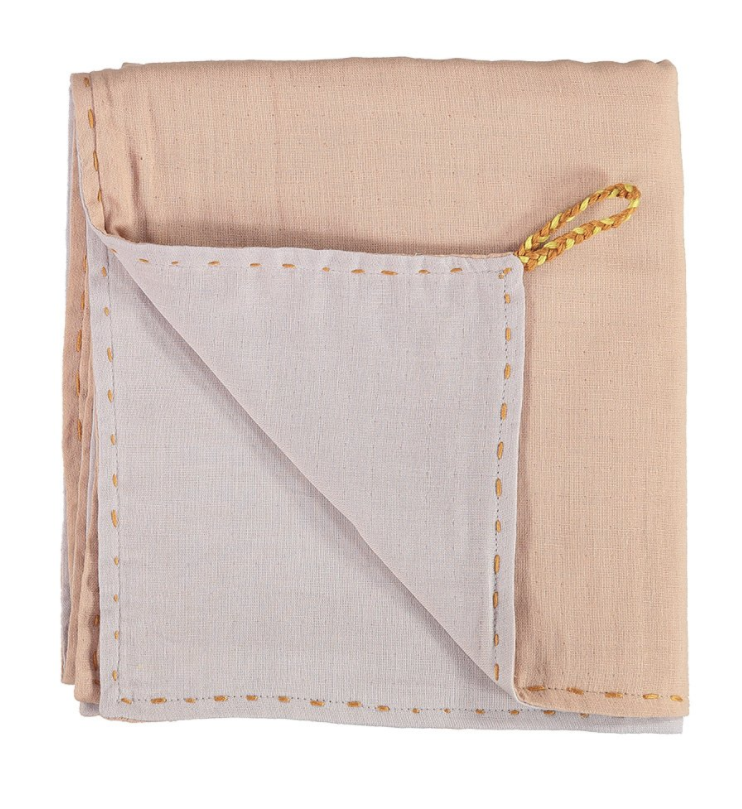 Double Layer Reversible Pink Swaddle Blanket