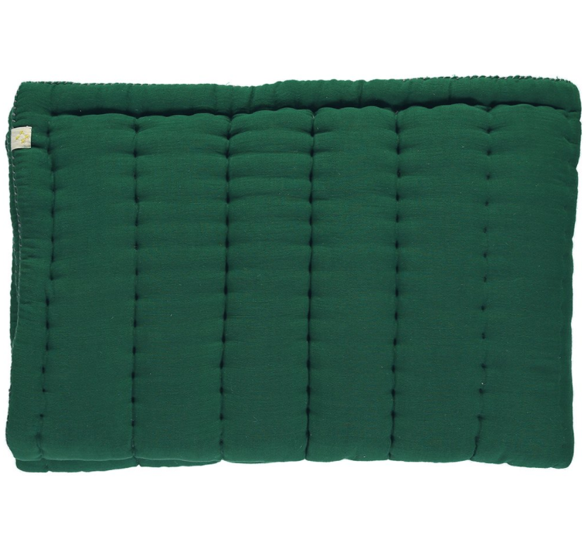 HAND QUILTED BLANKET GREEN 75×120