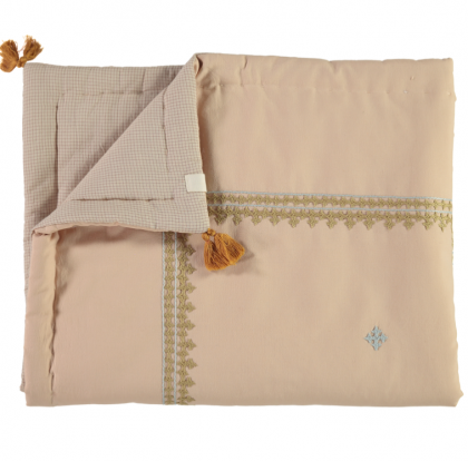 LIMITED EDITION HAND WOVEN AND EMBROIDERED REVERSIBLE QUILT – Peach