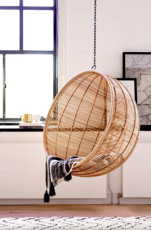 Rattan Hanging Bowl Chair Natural Bohemian Hk Living Peek Pack