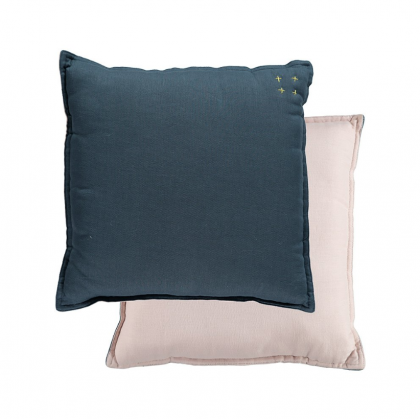 Camomile Padded Cushion – Midnight Blue and Pearl Pink 30×30