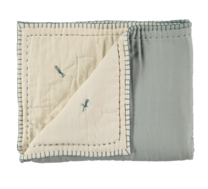 Cotton filled reversible quilt – Powder Blue and Stone