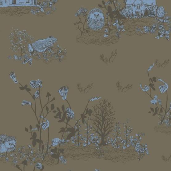 Classic Woodlands Wallpaper  Khaki Blue