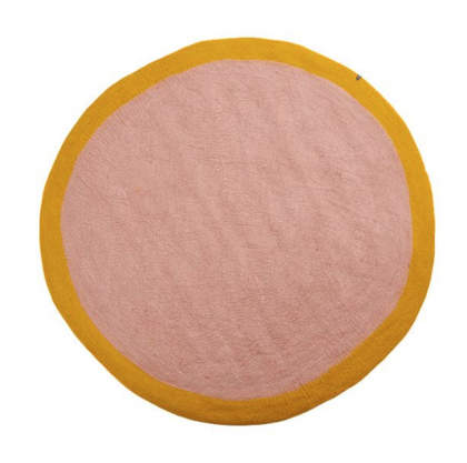 Alfombra redonda Lumbini amarilla – rosa