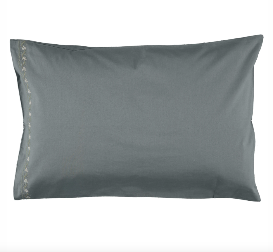Embroidered Leaf Pillowcase – Blue/ Grey 50×75