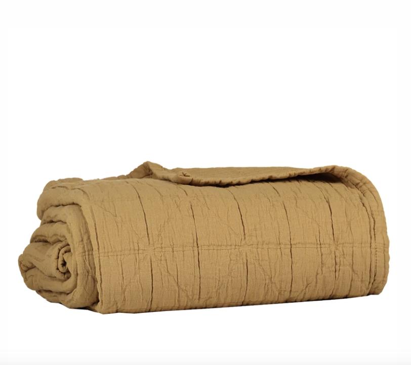 Diamond Soft Cotton Blanket – Ochre