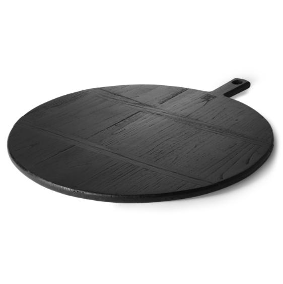 Tabla de cortar negra redonda