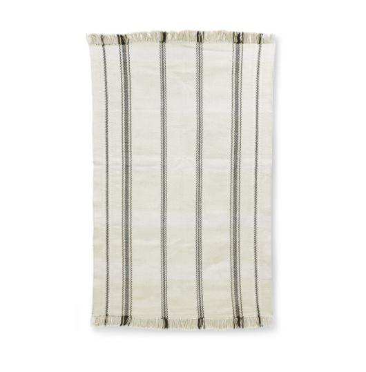 handwoven rug black/white stripes (150×240)