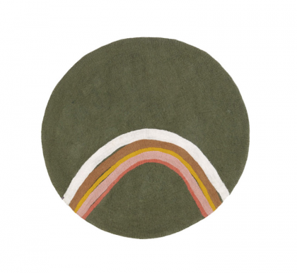Rainbow Rug Dark Green by Muskhane