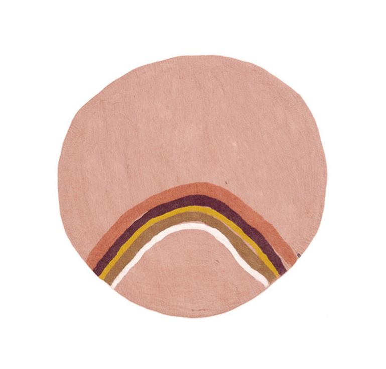 Alfombra Redonda Arcoiris Rosa cuarzo de Muskhane