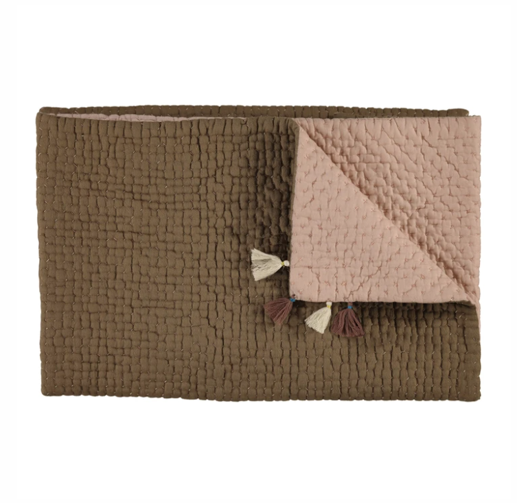 Reversible Cotton Blanket Mink/Khaki Camomile London