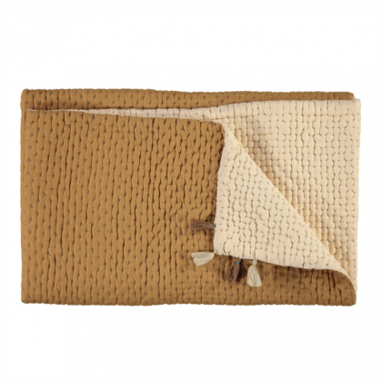 REVERSIBLE COTTON BLANKET OCHRE/STONE