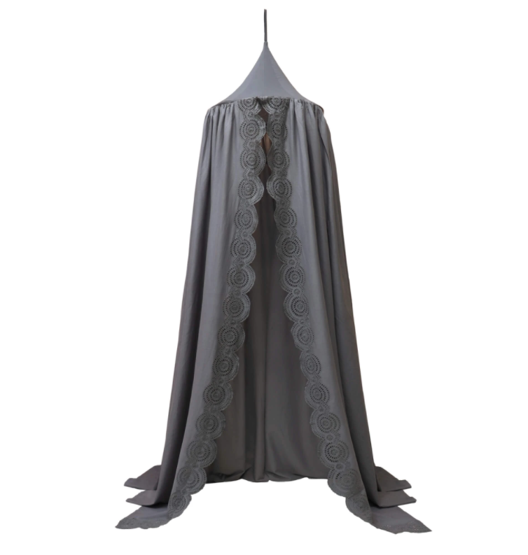 Scallop Embroidered Canopy – Blue Grey